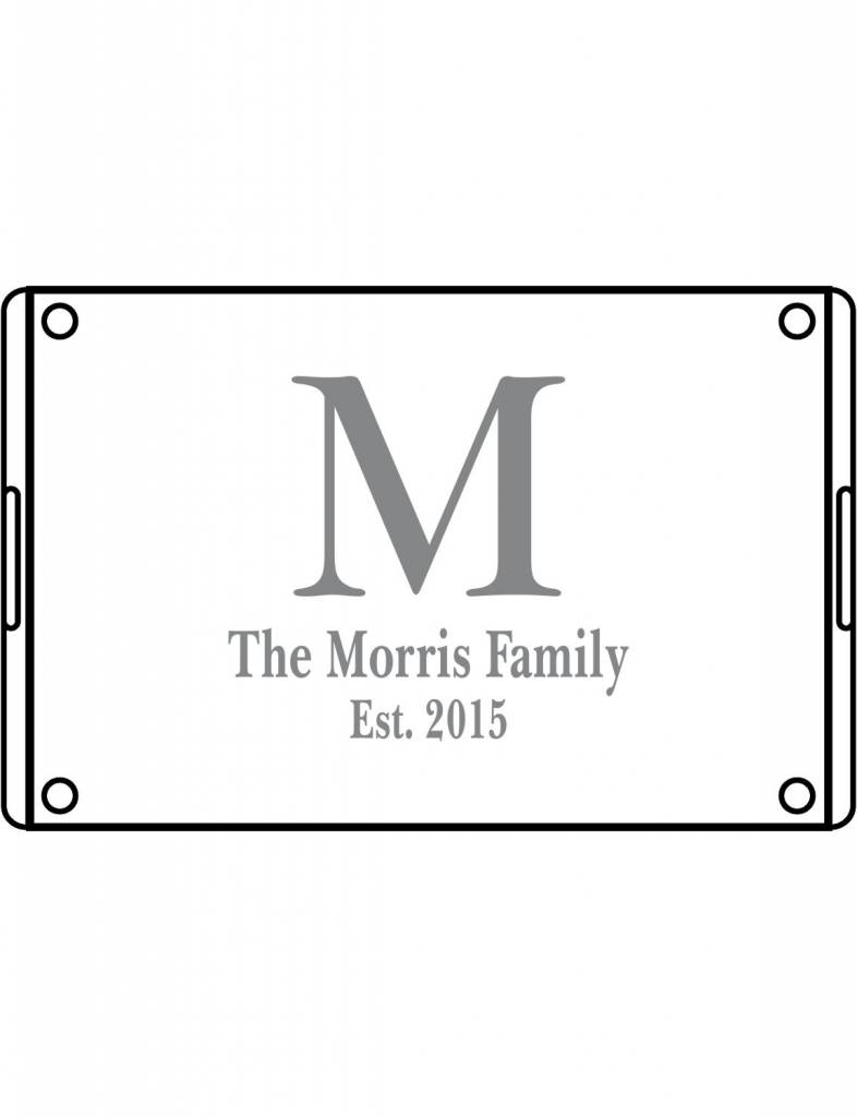 Acrylic Large Rectangular Tray-ACR21-Baskerville Initial & Family