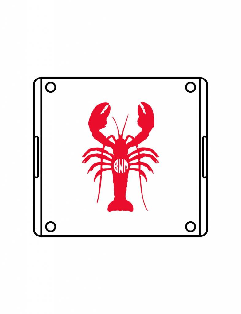 Acrylic Square Tray-ACR93-Lobster Monogram