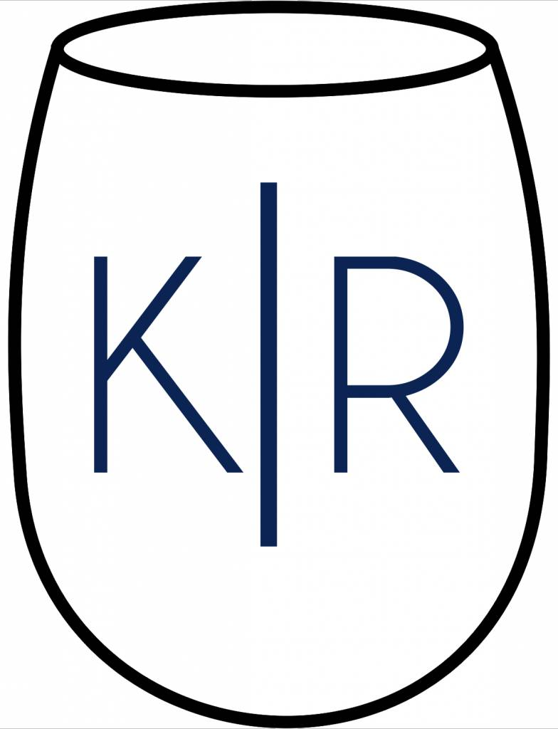 Acrylic Large Wine Glasses-ACR72-Simple Couple's Initials
