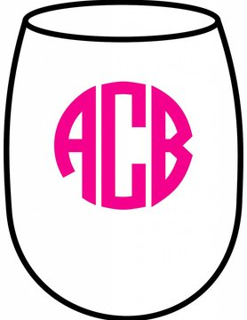 Acrylic Large Wine Glasses-Circle Monogram
