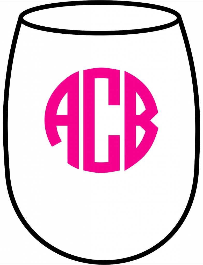 Acrylic Large Wine Glasses-Circle Monogram