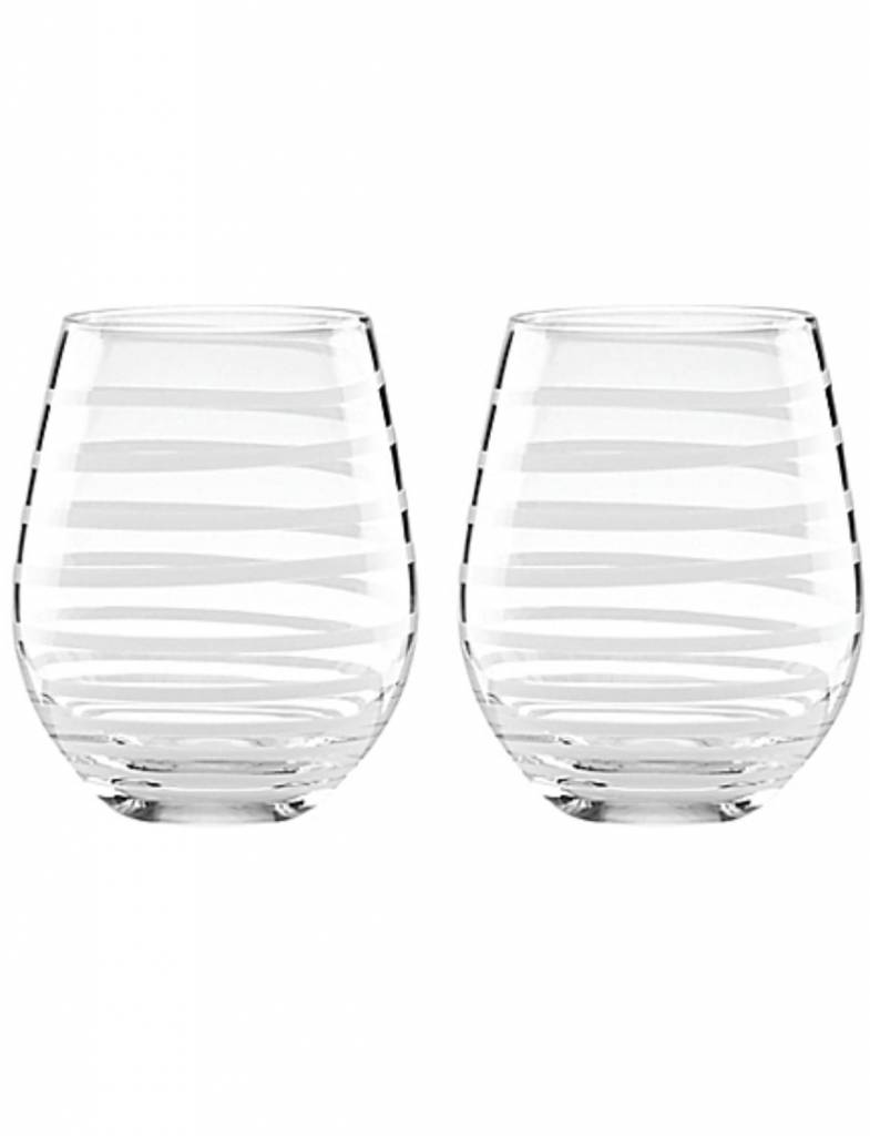 Kate Spade Charlotte Street White Stemless Wine Glasses (Set of 2)