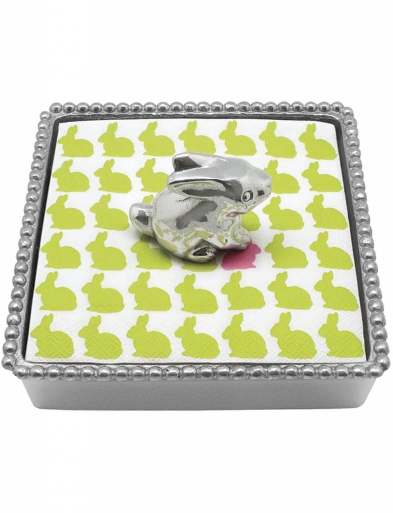 2872-C Bunny Beaded Napkin Box