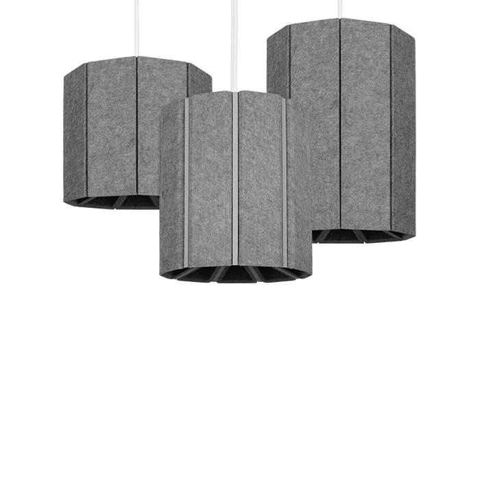 "Focal Point Zyl 4  A nominal 12.5"" diameter decorative PET felt pendant"