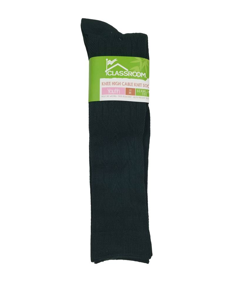 CLASSROOM GREEN CABLE KNEE HI SOCKS 3-PACK