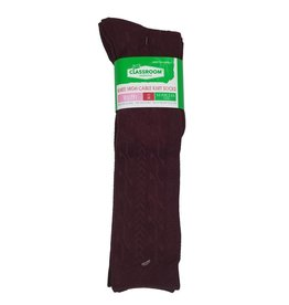 CLASSROOM MAROON CABLE KNEE HI SOCKS 3-PACK