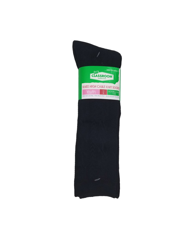 CLASSROOM NAVY CABLE KNEE HI SOCKS 3-PACK C
