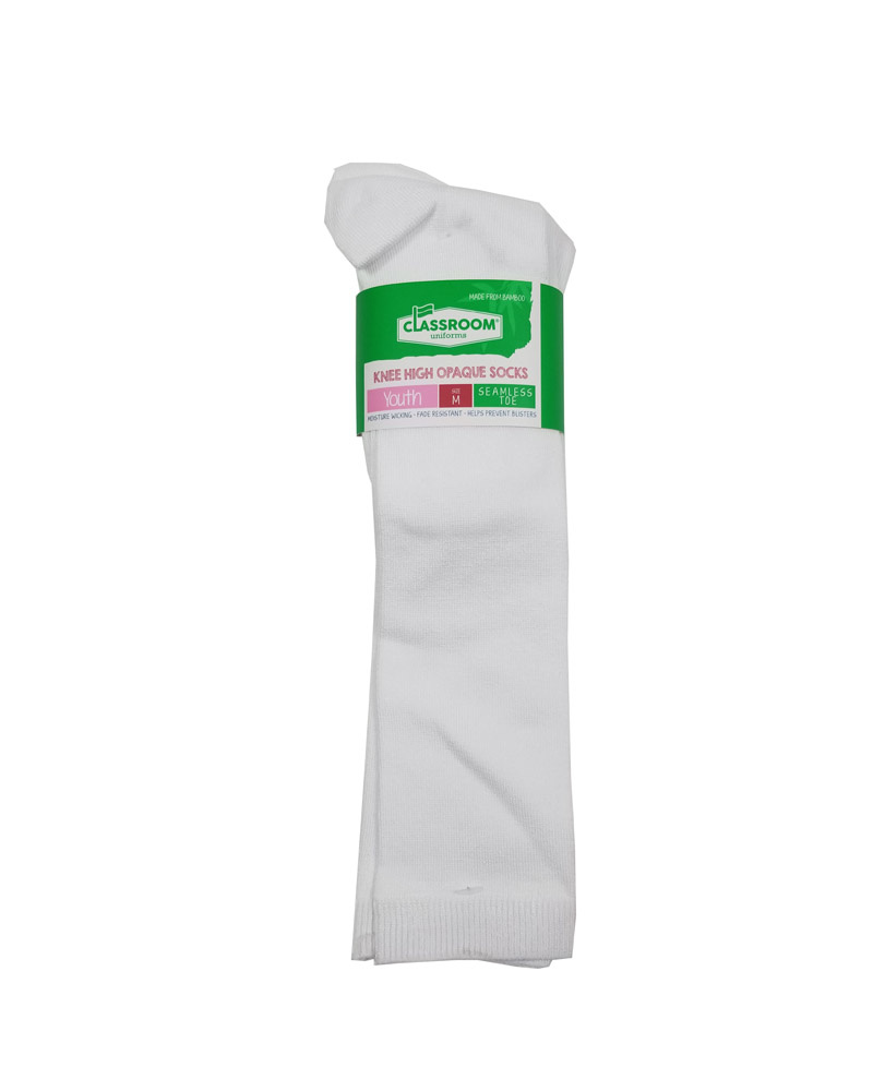 CLASSROOM WHITE OPAQUE KNEE HI SOCKS 3-PACK E
