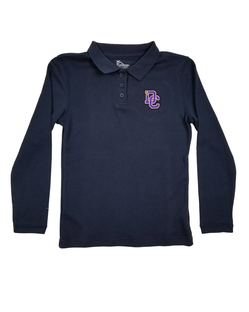 Classroom Uniforms DAYTON CHRISTIAN GIRL LS POLO SHIRT -  NAVY