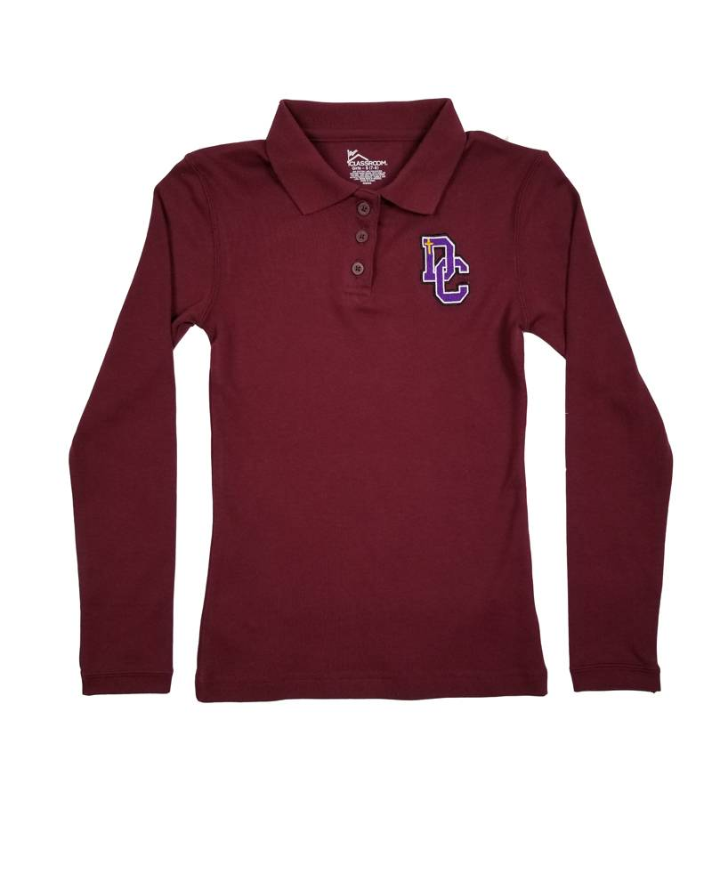 Classroom Uniforms DAYTON CHRISTIAN GIRL LS POLO SHIRT -  MAROON