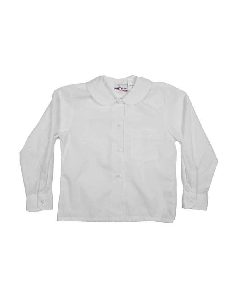 Elder Manufacturing Co. Inc. GIRLS/LADIES LS WHITE ROUND COLLAR BLOUSE