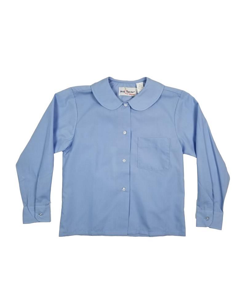 Elder Manufacturing Co. Inc. GIRLS/LADIES LS LT BLUE ROUND COLLAR BLOUSE