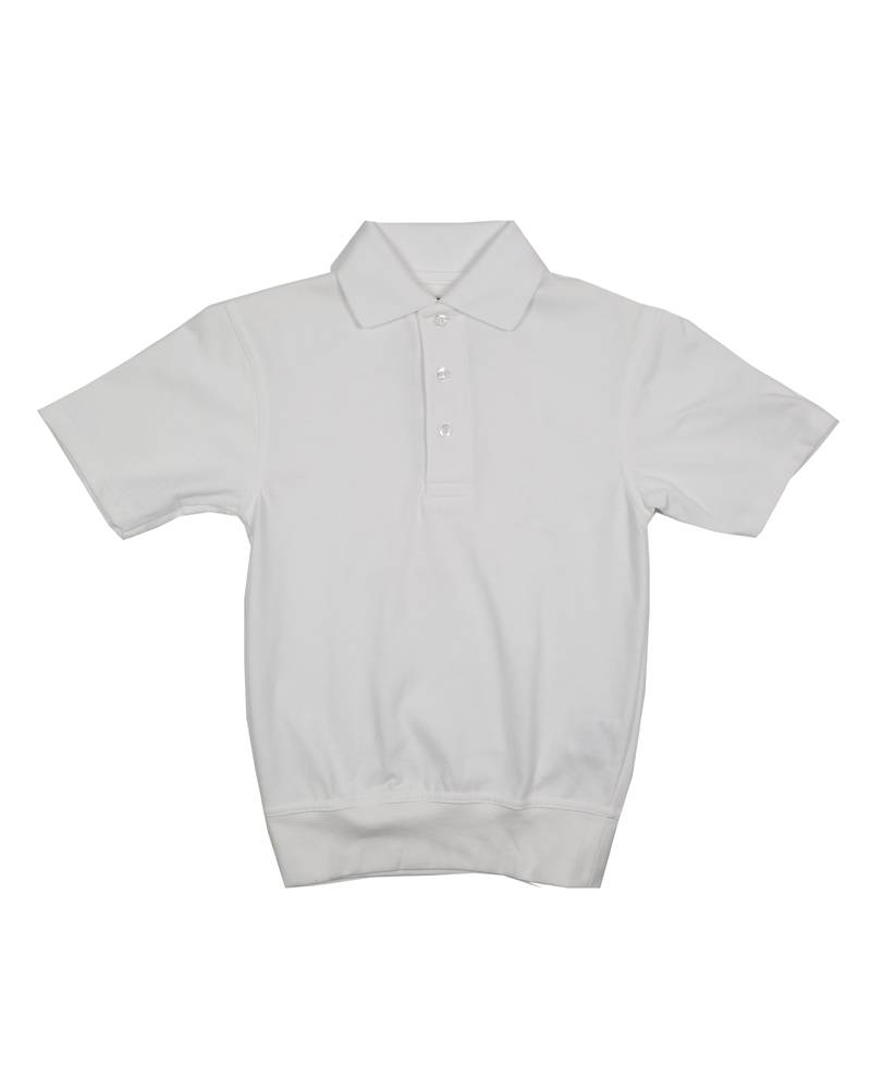 School Apparel, Inc. SHORT SLEEVE BANDED BOTTOM POLO WHITE