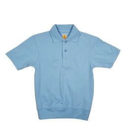 School Apparel, Inc. SHORT SLEEVE BANDED BOTTOM POLO LT BLUE