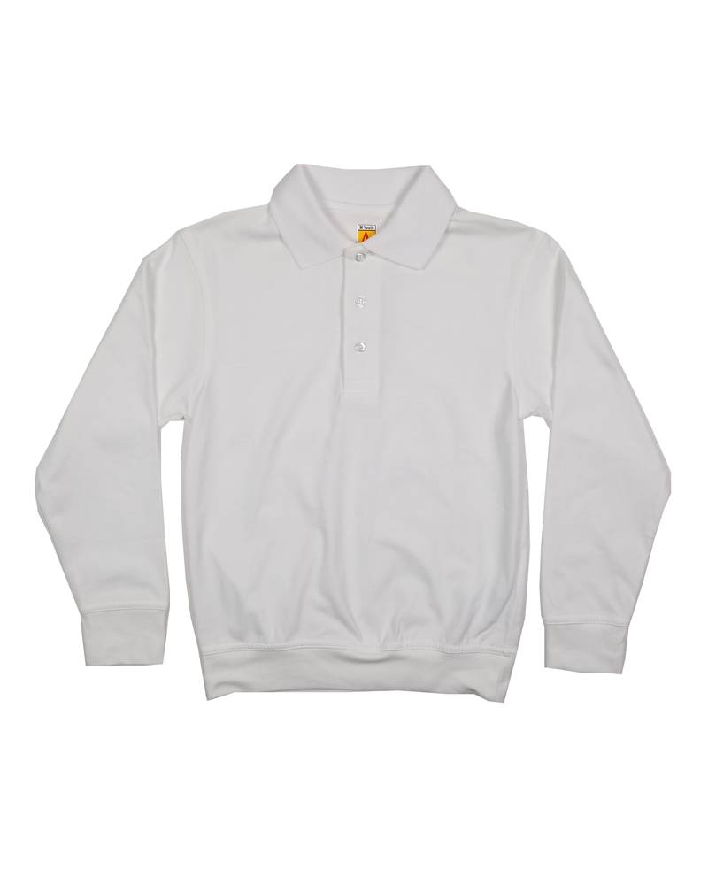 School Apparel, Inc. LONG SLEEVE BANDED BOTTOM POLO WHITE