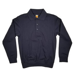 School Apparel, Inc. LONG SLEEVE BANDED BOTTOM POLO NAVY