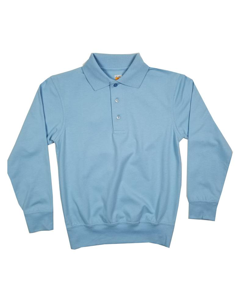 School Apparel, Inc. LONG SLEEVE BANDED BOTTOM POLO LT BLUE