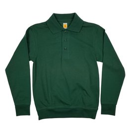 School Apparel, Inc. LONG SLEEVE BANDED BOTTOM POLO GREEN