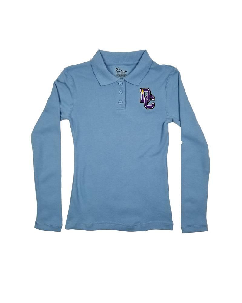 Classroom Uniforms DAYTON CHRISTIAN GIRL LS POLO SHIRT -  LT BLUE