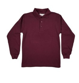 Elder Manufacturing Co. Inc. LONG SLEEVE PIQUE KNIT SHIRT MAROON