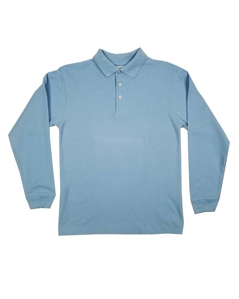 Elder Manufacturing Co. Inc. LONG SLEEVE PIQUE KNIT SHIRT LT BLUE