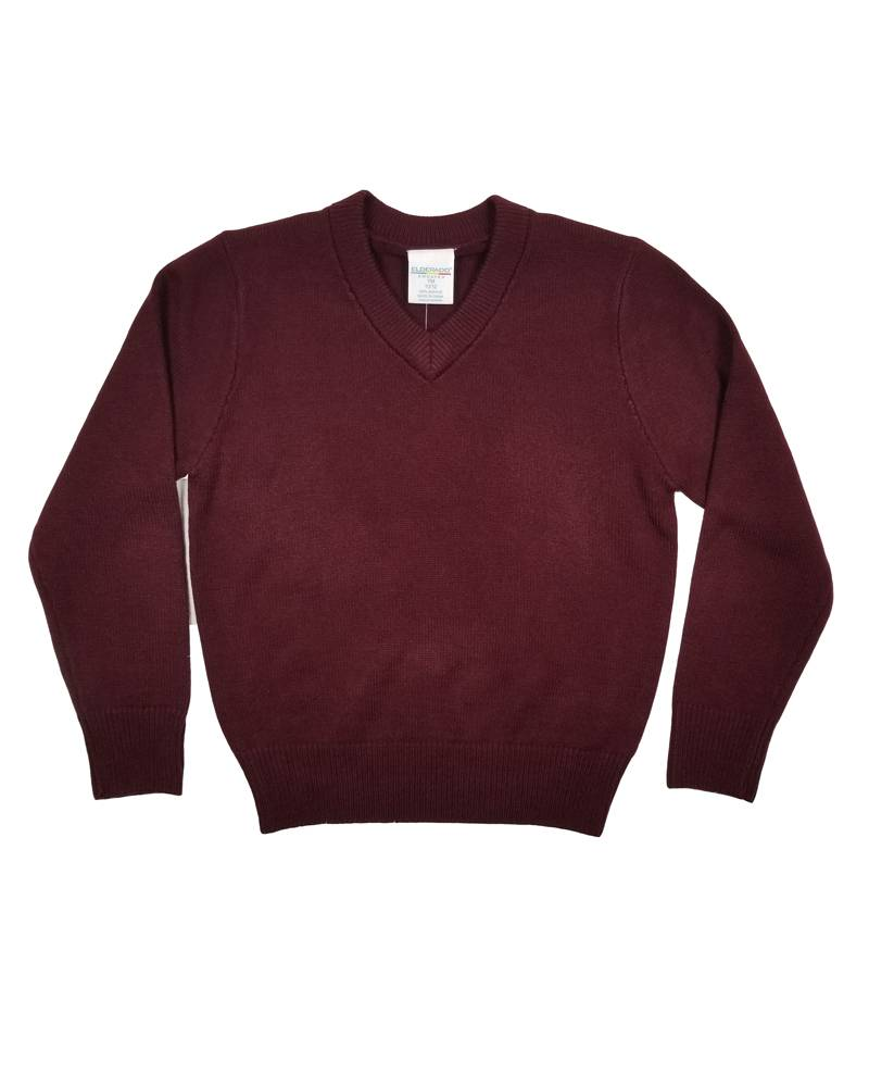 Elder Manufacturing Co. Inc. V/NECK PULLOVER SWEATER MAROON