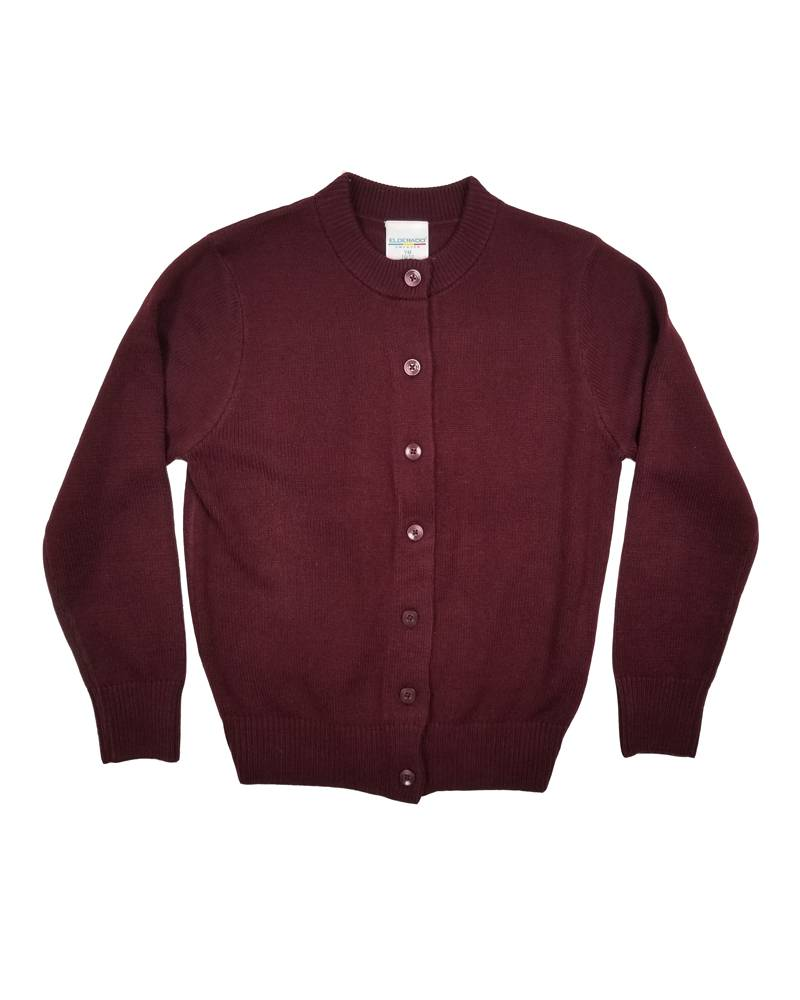 Elder Manufacturing Co. Inc. GIRLS CARDIGAN MAROON