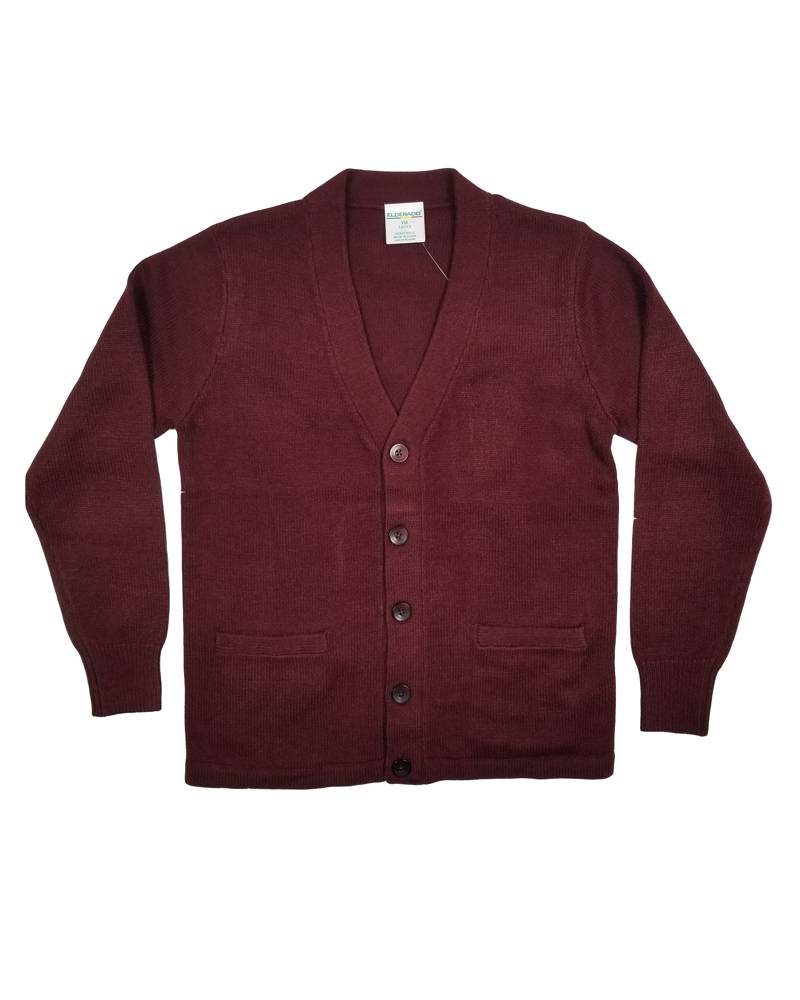 Elder Manufacturing Co. Inc. V-NECK CARDIGAN W/ POCKET MAROON