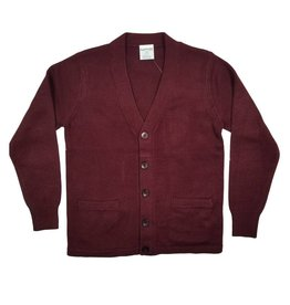 Elder Manufacturing Co. Inc. V-NECK CARDIGAN W/ POCKET MAROON B