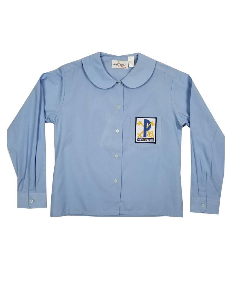 Elder Manufacturing Co. Inc. ST PETER GIRLS/LADIES LS LT BLUE ROUND COLLAR BLOUSE
