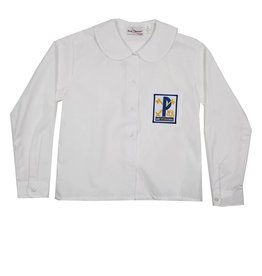 Elder Manufacturing Co. Inc. ST PETER GIRLS/LADIES LS WHITE ROUND COLLAR BLOUSE