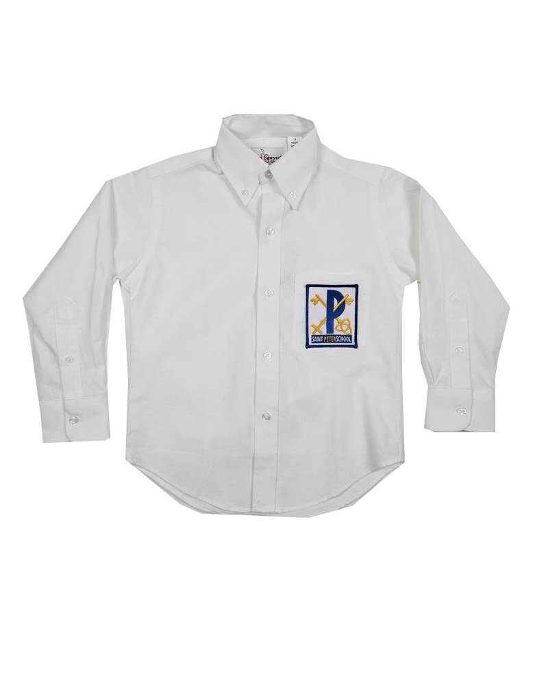 Elder Manufacturing Co. Inc. ST PETER BOYS/MENS LS WHITE OXFORD SHIRT