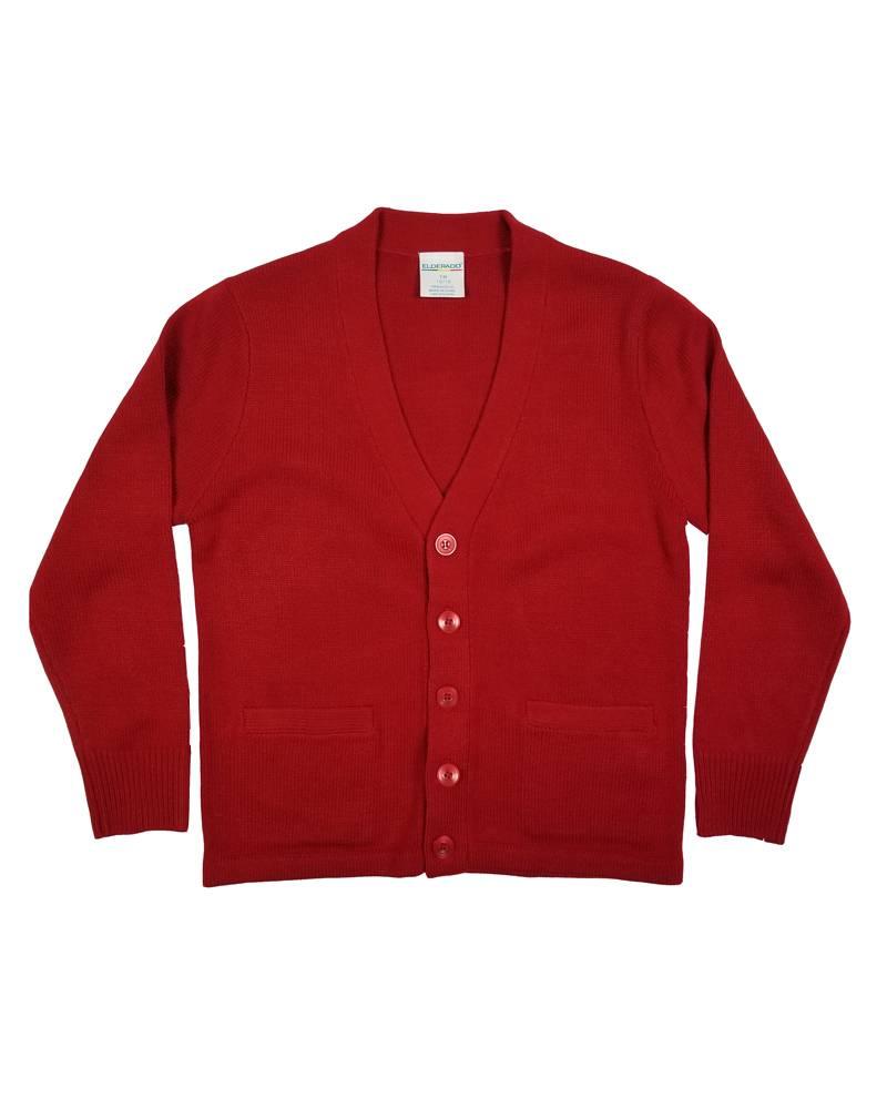 Elder Manufacturing Co. Inc. V-NECK CARDIGAN W/ POCKET RED B