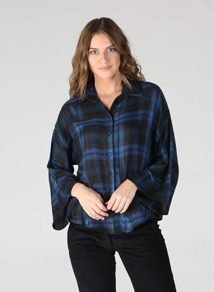 Angie Wide Sleeve Plaid Button Up Top (P2Z19)