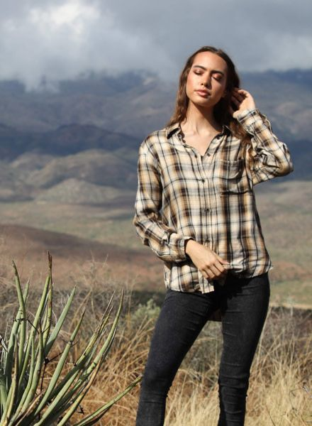 Angie Long Sleeve Plaid Button Up With Front Pocket (B2U60)