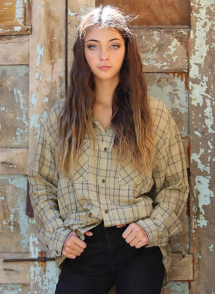 Angie Snow Washed Plaid Button Up Top (X2H60)