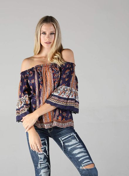 Angie Off the Shoulder Top with Full Sleeve (P2W41)