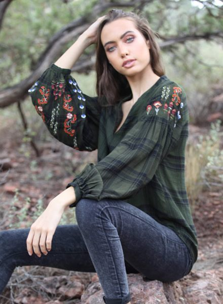 Angie V Neck Plaid Top With Embroidery On Sleeve (P2W81-RA45-EH84)