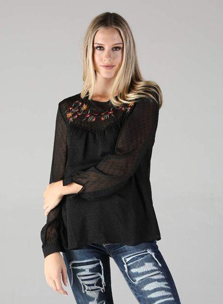 Angie Black Swiss Dot Long Sleeve Top (X2T89)