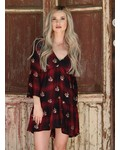Angie V Neck All Over Embroidery Flare Sleeve Dress (F4941)