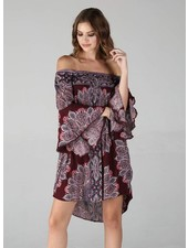 Angie Off The Shoulder Smocked Bell Sleeve Dress (F4A44)