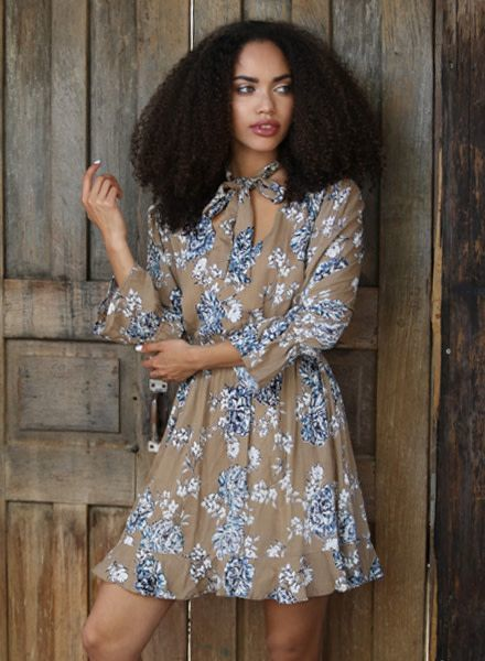 Angie Long Sleeve Dress with Tie Front (F4958)
