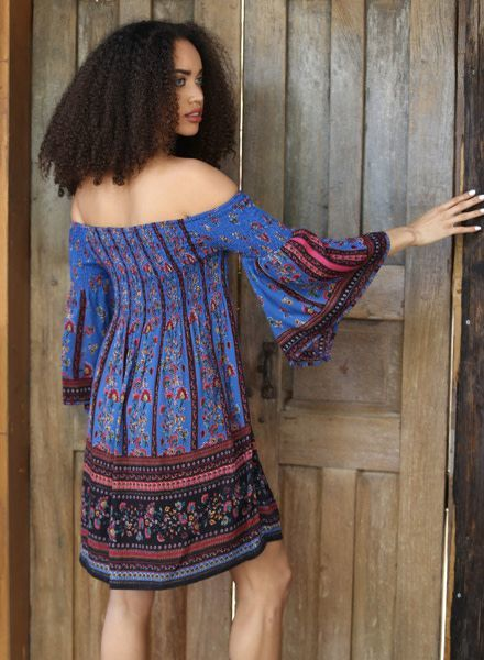 Angie Smocked Off Shoulder Dress With Bell Sleeves (F4996)