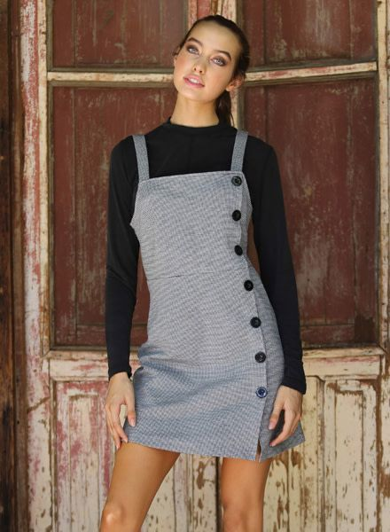 Angie Knit Houndstooth Pinafore Dress (F4A36)