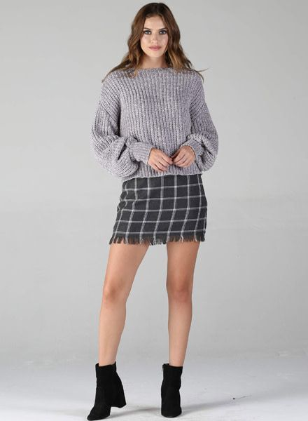 Angie Plaid Mini Skirt With Fray (26M67)