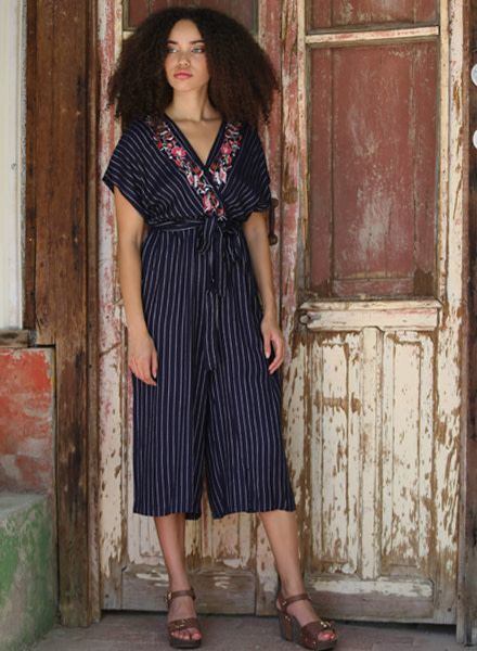 Stripped Jumpsuit with Front Embroidery And Tie (Q5T31)
