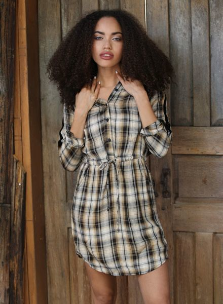 Angie Plaid Shirtdress With Velvet Trim and D-Ring Roll Cuffs (F4A32)