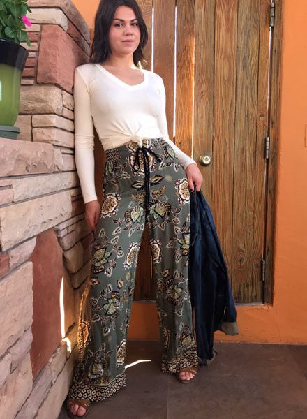 Angie Printed Pant With Tie At Waist (25Q45)