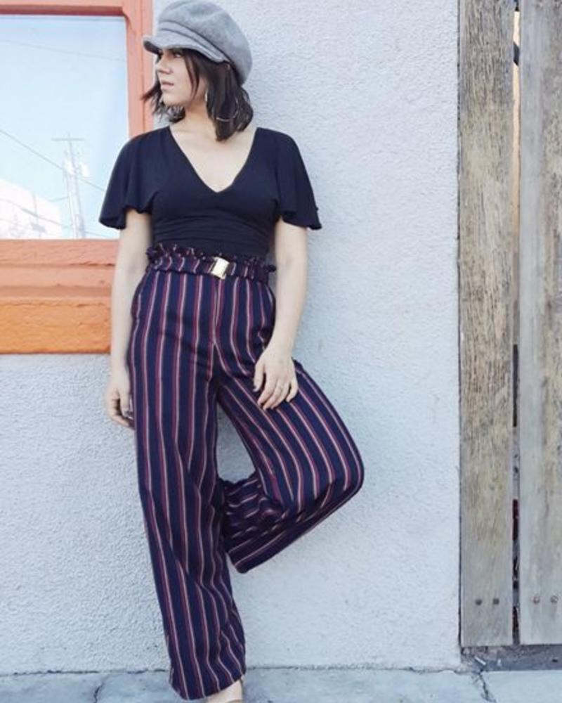 Angie Printed Stripe Pant w/Belt (25Q46)
