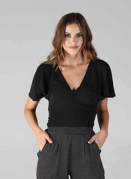 Angie Soft Knit V Neck with Flutter Sleeve (X2Q42)